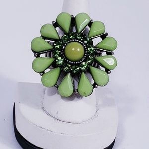 Green Acrylic and Stone Flower Ring